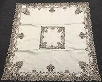 "54x54"" Square Beige Color Embroidery Satin Fabric Cutwork Tablecloth Embroidered"
