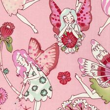 Alexander Henry Flower Fairy Fairies on Pink Cotton Fabric - FQ