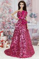 ELENPRIV Pink sequined dress w/belt for Fashion Royalty FR2 dolls