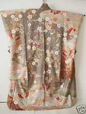 Vintage Japanese Silk Kimono Dress FURISODE, Sakura, Butterfly, Wave K721