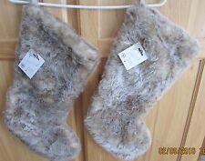 Set of 2 Jaclyn Smith Christmas Stockings Beige Faux Suede & Fur  - NIP!