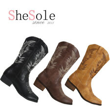 SheSole Womens Cowgirl Western Cowboy boots Vintage Winter Shoes Brown Tan
