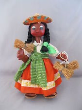 VINTAGE MEXICAN FOLK ART DOLL~WOMAN & BABY~PAPOOSE~MACHE~EMBROIDERED