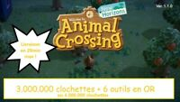 Animal Crossing New Horizons Switch : 3.000.000 clochettes + les 6 outils en OR