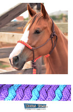 Classic Equine Horse Two Tone Rope Halter with 8' Lead Turquoise Purple