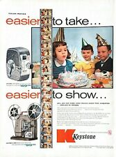 1955 Keystone Movie Camera Projector Vintage Print Ad Kids Birthday Party