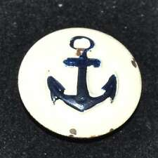 Bouton original ancien en métal peint ancre marine 22mm button