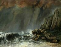The Waterspout Gustave Courbet Seascape Art Painting Print Canvas Giclee Small