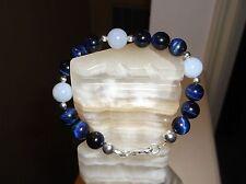 """Tiger Eye/Blue Chalcedony Sterling S Bracelet Men'S Handmade 8 3/4"""" 10 Mm Blue"""