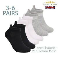 Mens Sports Socks Ankle Trainer Liner 3 6 Pairs Cotton Rich Black White UK 6-11
