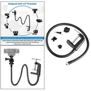 Desktop Webcam Stand Camera Holder Flexible Arm Desk Mount with Clamp Black