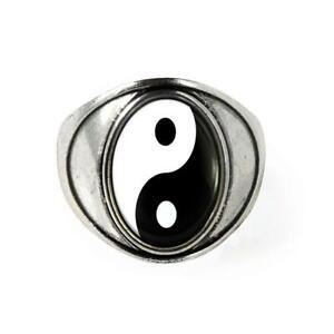 Yin Yang New Age Antique Silver Handmade Glass Ring Sz 7
