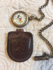 Genuine Disney Quartz Mickey Mouse Pocket Watch Japan Movement With Leather Case