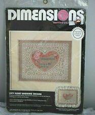 Dimensions Lacy Heart Wedding Record Cross Stitch Kit #3673 Karen Avery Designer