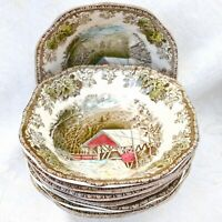 8 pc Set Vintage Johnson Brothers England Friendly Village Square Cereal Bowls