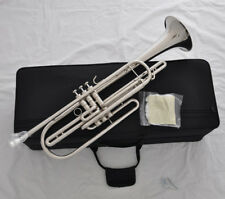 Professional silver nickel Bb Piston Bass Trumpet Horn with leather Case