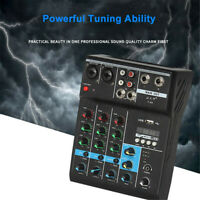 4 Channel bluetooth Mixing Console Audio Mixer USB Live Sound Amplifier Music
