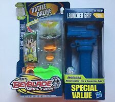 NEW Beyblade Metal Fusion FLAME SAGITTARIO Value Pack & Launcher Grip BB35 BB15A