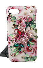 DOLCE & GABBANA Phone Case Cover Pink Floral Crystal Studs Leather iPhone7