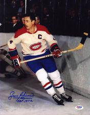 Jean Beliveau SIGNED 11x14 Photo + HOF Montreal Canadiens PSA/DNA AUTOGRAPHED