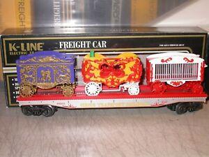 K-Line O K-69003 Circus Transport Railroad Classic Flat Car w/ 3 Wagons Exc