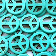 Dyed Turquoise Magnesite 25mm Peace Semi Precious Stone Beads Q16 Beads per Pkg