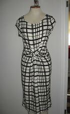 Comfy casual stretch dress large check gathered faux wrap slip on easy care M