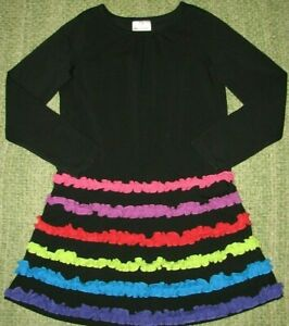 HANNA ANDERSSON Classic & Fun Black Dress w/ Colorful Ruffles 130 Girls 8-10