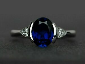2.50Ct Oval Cut Blue Sapphire Solitaire Engagement Ring In 14K White Gold Over