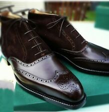 Handmade Leather two tone Brown suede with Brown leather shoes for men