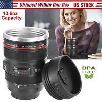 Camera Lens Cup 24-105 Coffee Travel Mug Stainless Steel, Leak-Proof Lid