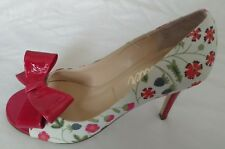 Womens Ladies Butter Pink Floral Peep Toe Stiletto Court Shoes Size 5/38 New