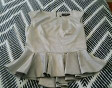 BNWT CUE Made In Australia European Fabric Peplum Silver Top Exposed Zipper sz 8