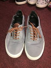 Vans Off The Wall Men's Gray Canvas Skate Sneakers Brown Heel /leather Size 10