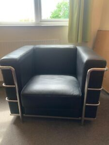 Le Corbusier Inspired Black Leather Chair