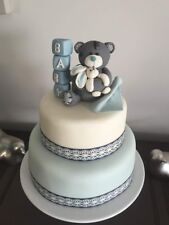 Teddy Bear cake topper BIRTHDAY baby shower plus blocks