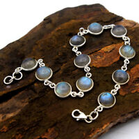 Solid Bracelet Round Cab Blue Labradorite Gemstone 925 Sterling Silver Jewelry