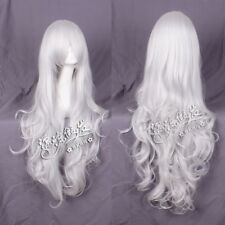Women Long Cruly Pure White HighTemperature Middle Part Anime Cosplay Wig39.4""