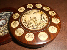 VINTAGE CHINESE FENG SHUI COMPASS IN WOOD BOX WITH SCRIMSHAW ART