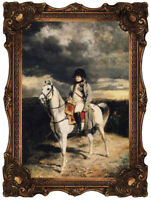 Old Master Art Portrait Man Napoleon King on Horse Oil Painting 30x40 Unframed