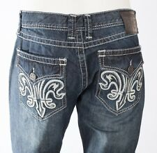 XTREME COUTURE by AFFLICTION Mens Denim Jean DOUBLE FLEUR White Embroidered $79