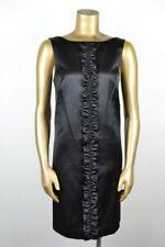 LILLY PULITZER 6 Ruffle Black Stretch Satin Sheath Dress Scoop Neck LBD