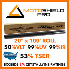 "MotoShieldPro - Nano Ceramic Tint Film 50% VLT (20""x100' Roll) 60%TSER BEATS 3M!"