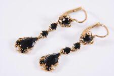 k13c11- Paar 585er/ 14kt Gold Ohrringe m. schwarzem Turmalin