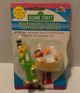 Sesame Street Bert & Ernie Toothpaste Topper & Toothbrush Gripper Vintage 1998