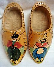 2 Handmade Wooden Shoes - Made in Holland - Painted & Carved Details