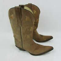 Women's Rudel Leather Cowboy Boots Floral Tan Brown Pointed Toe Sz 6.5