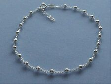 "Italy 925 Sterling Silver Ankle Bracelet-Adjusts 10"" to 11'- Link w/3mm Beads"