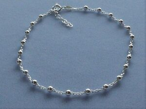 """10"""" to 11"""" ADJUSTABLE LENGTH STERLING SILVER ANKLE BRACELET 3mm BEADS-ITALY 925"""