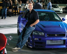 Paul Walker Poster Blue Nissan Skyline Gt-R Fast And Furious Car 16x20 Canvas